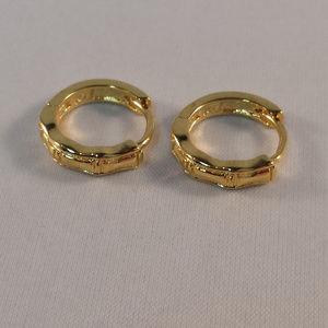 Jewelry - 18K Yellow Gold Carved Hoop Huggie Earrings 14mm